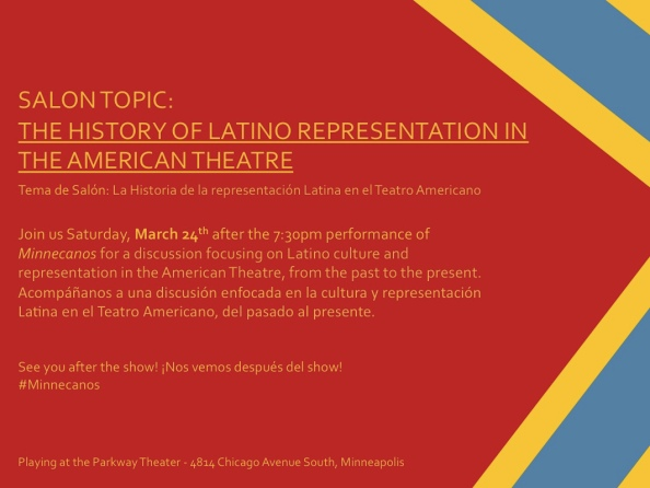 Join us after Saturday's 7:30pm performance as we discuss the history of Latino representation in the American Theatre