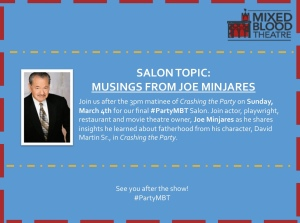 'Musings from Joe Minjares' concludes our #PartyMBT Salon Series this Sunday at 4:30
