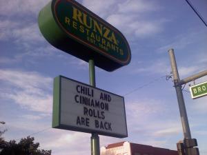 runza chili and cinnamon rolls